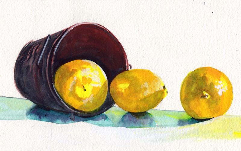 """Lemons and Copper Pot"" original fine art by Bunny Griffeth"