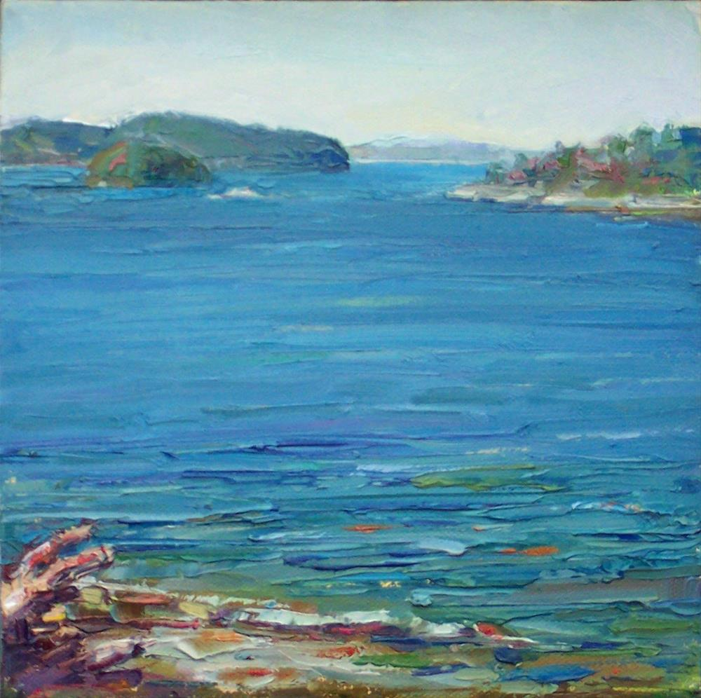 """""""View from Cove,seascape,oil on canvas,8x8,priceNFS"""" original fine art by Joy Olney"""