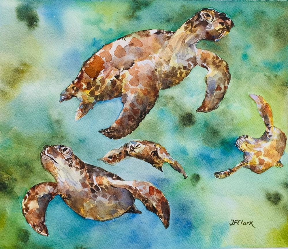 """Flying Turtles"" original fine art by Judith Freeman Clark"