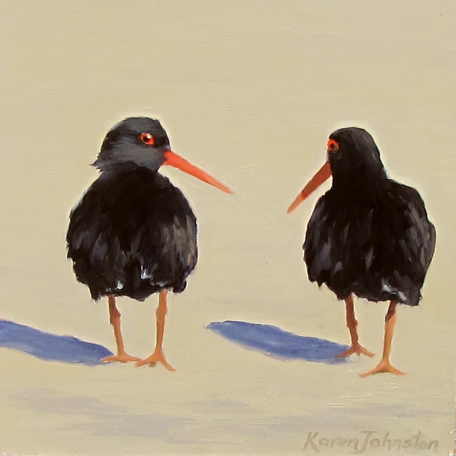 """Strolling Oystercatchers"" original fine art by Karen Johnston"
