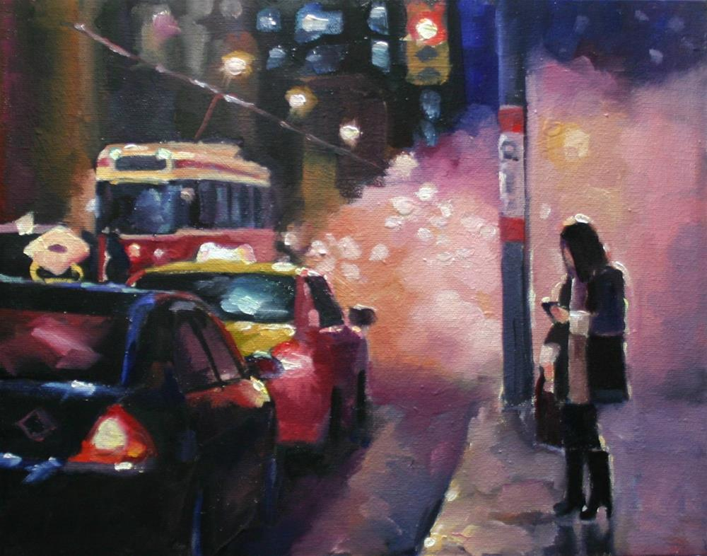 """Heading Home, Cold Toronto Evening"" original fine art by Catherine Jeffrey"