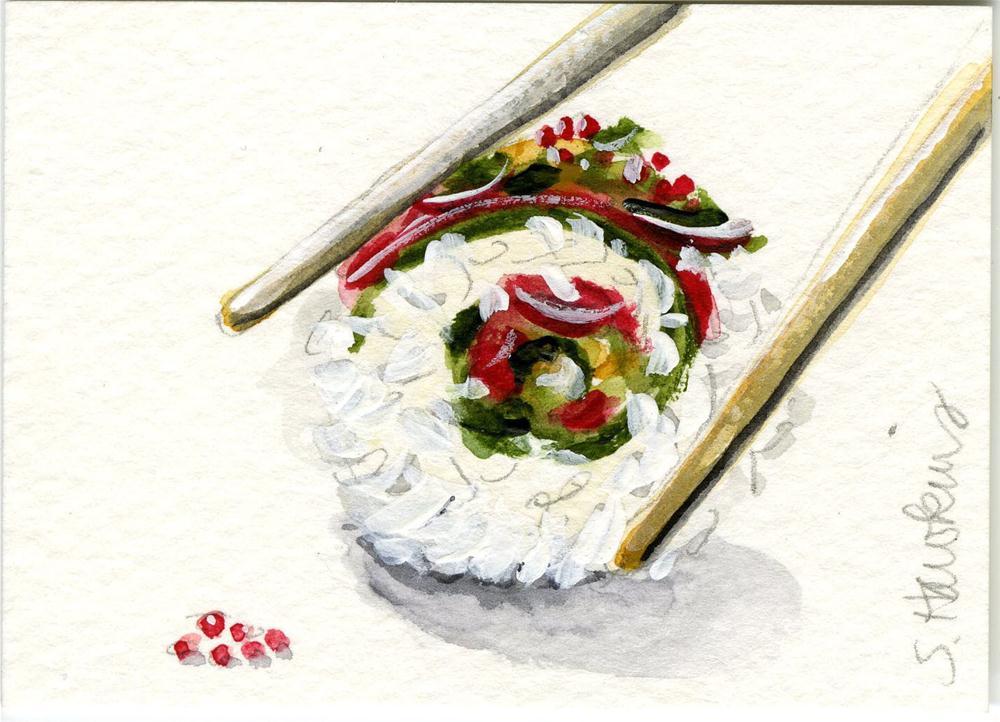 """""""Sushi Roll"""" original fine art by Sheryl Heatherly Hawkins"""
