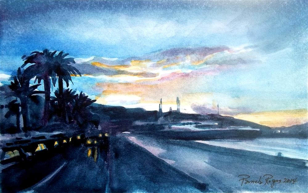 """Sunset over Ibiza"" original fine art by Pamela Jane Rogers"
