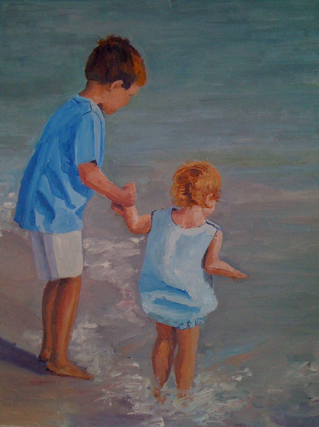 """Holding Sister's Hand"" original fine art by Debbie Dowdle"