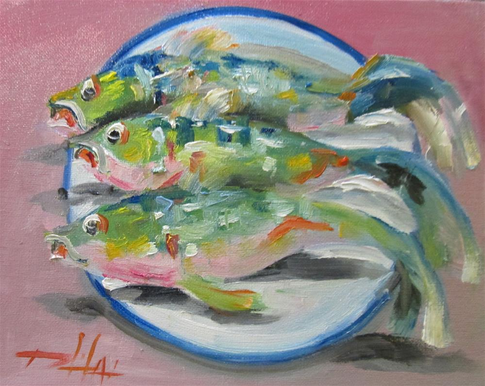 """Plate of Fish No. 2"" original fine art by Delilah Smith"