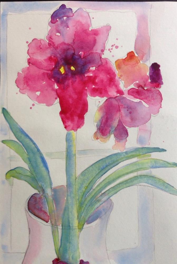 """Winter Amaryllis"" original fine art by Maria Peagler"