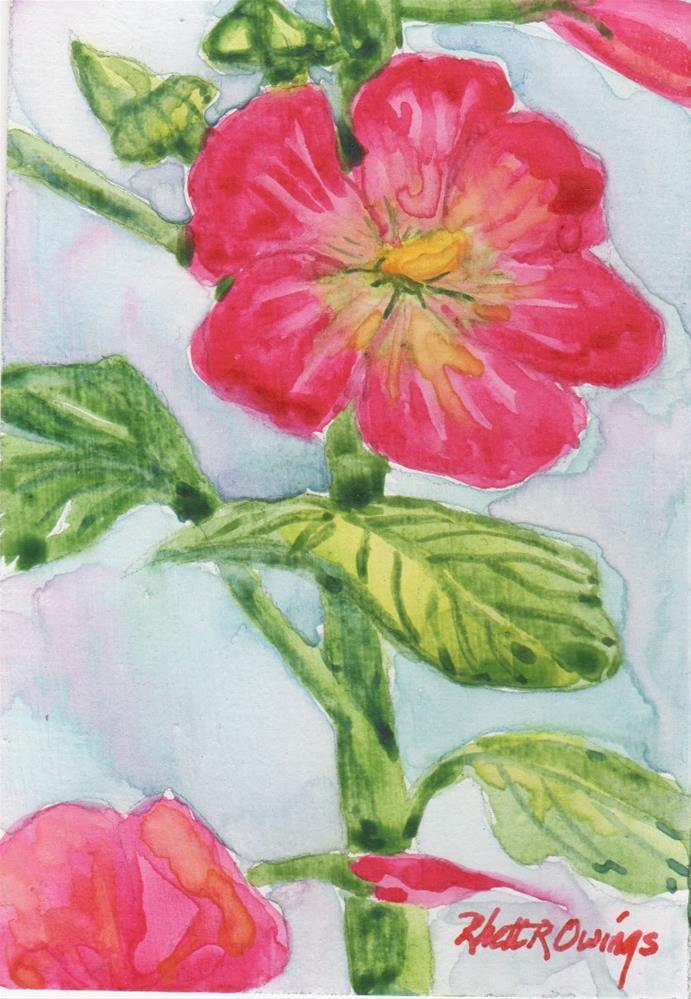 """Red Hollyhocks ACEO"" original fine art by Rhett Regina Owings"