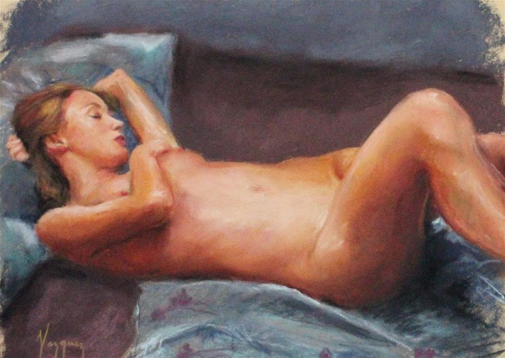 """Pastel nude in bed"" original fine art by Marco Vazquez"