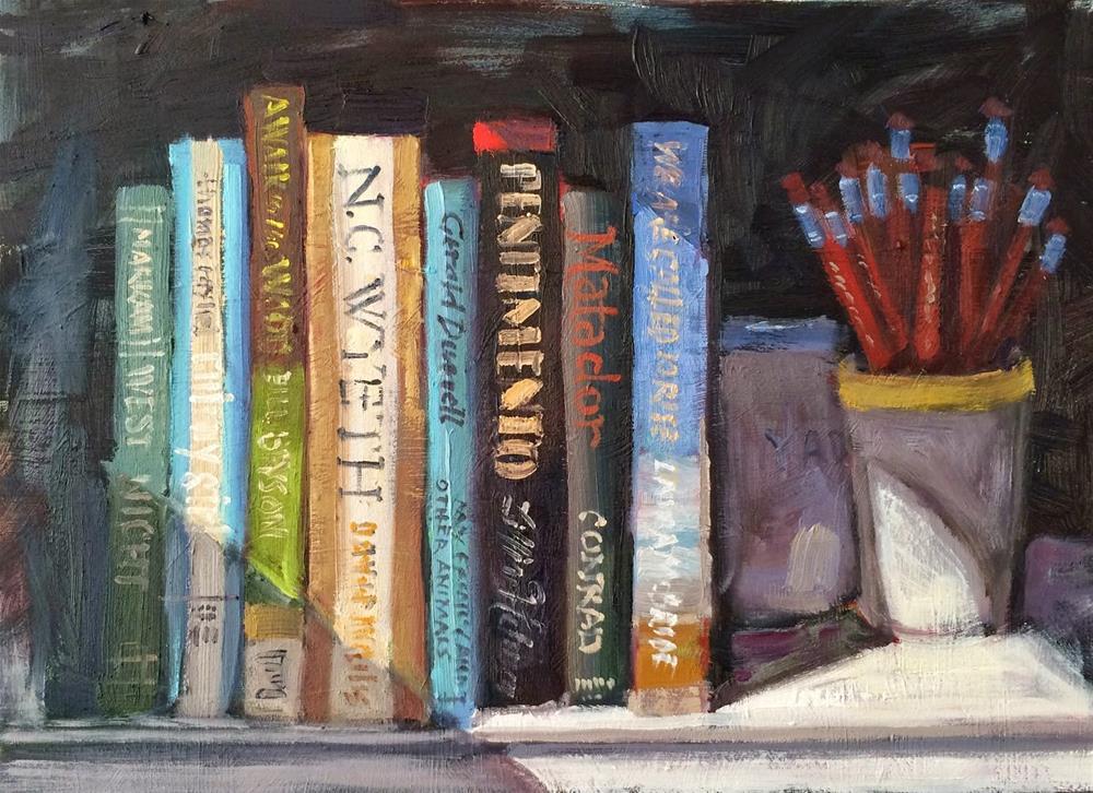 """Favorite Books"" original fine art by Deborah Newman"