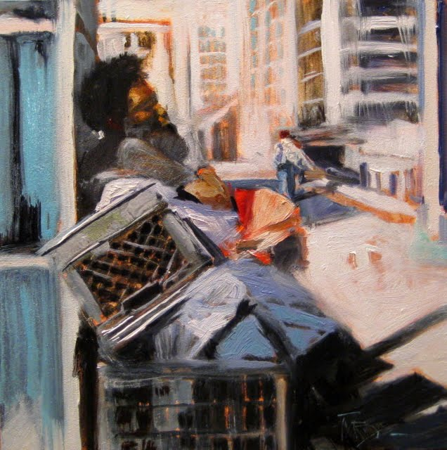 """""""Call for Rest oil urban landscape painting"""" original fine art by Robin Weiss"""