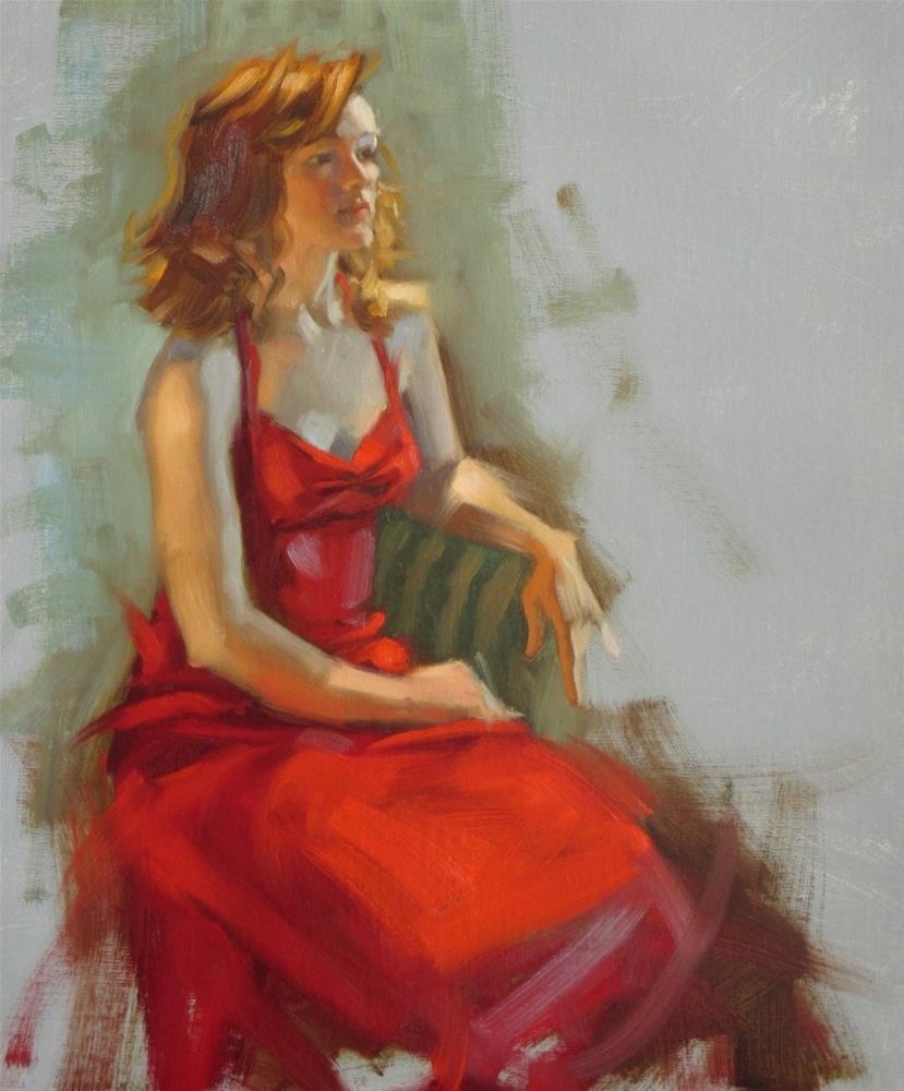 """Little Red dress  18in x 14 in  oil"" original fine art by Claudia Hammer"