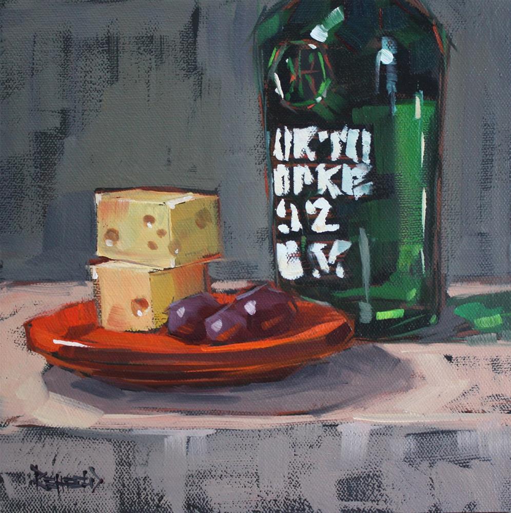 """Port, Cheese, Grapes"" original fine art by Cathleen Rehfeld"