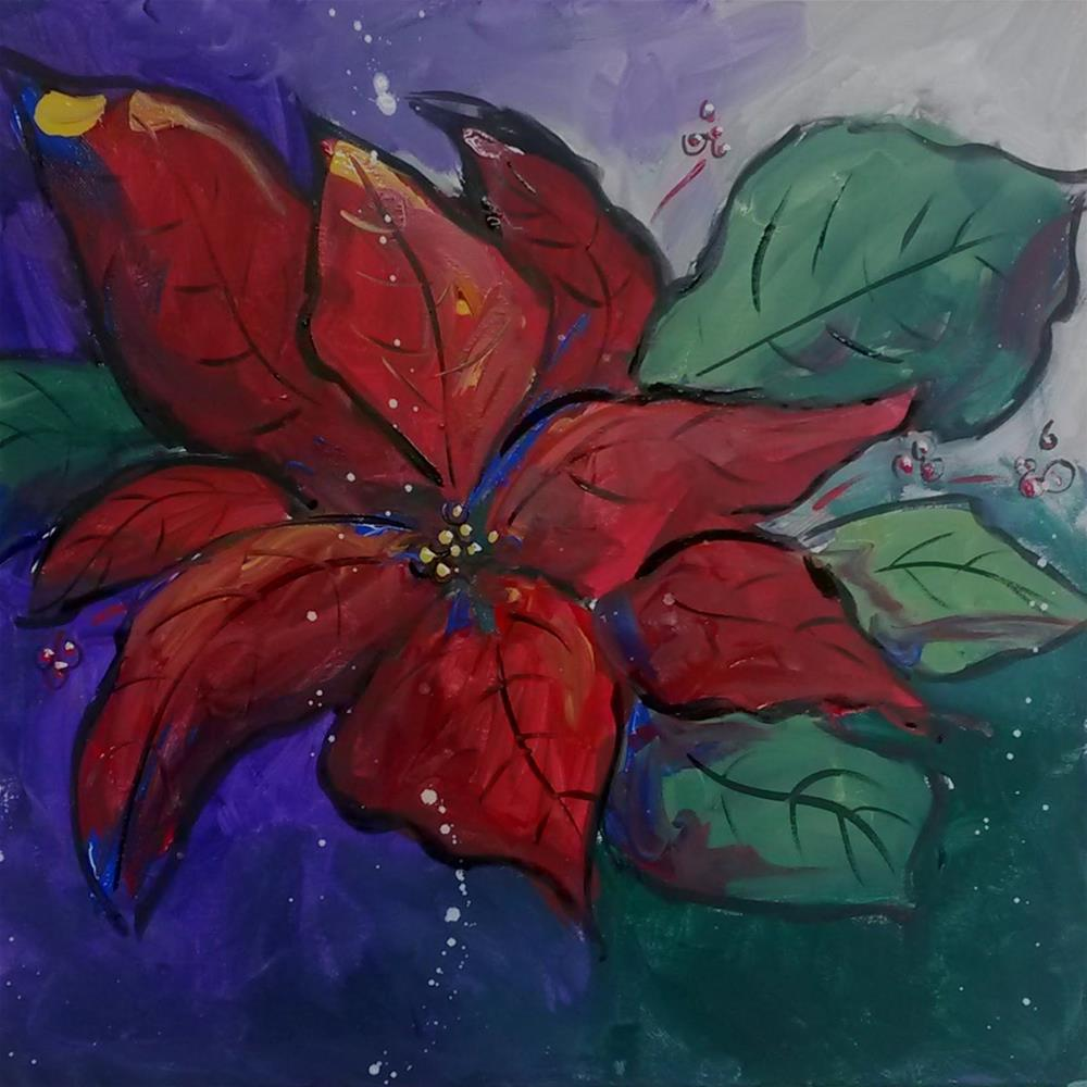 """Poinsettia Pizzaz!"" original fine art by Terri Einer"