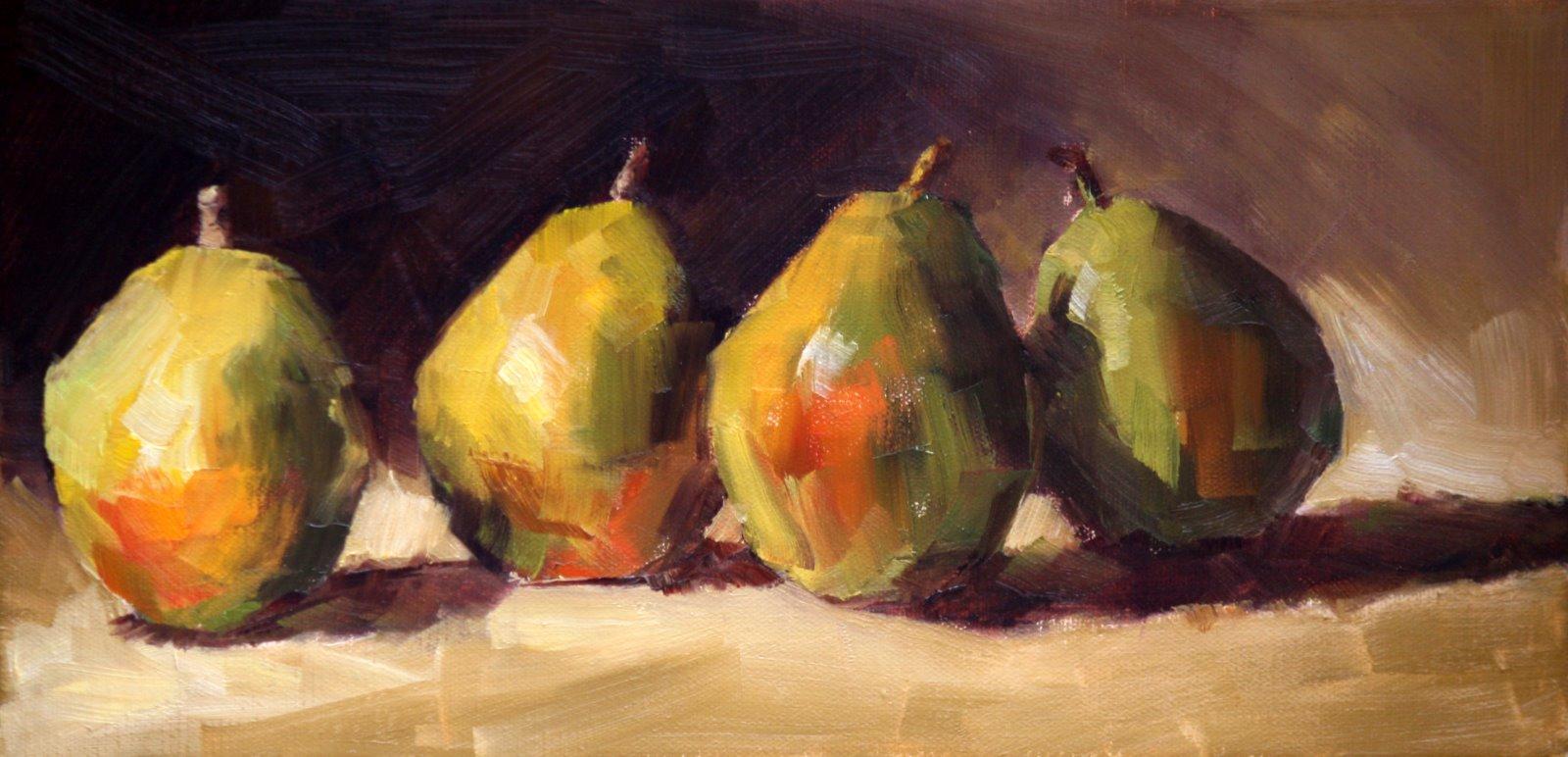 """Row pears"" original fine art by Carol Carmichael"