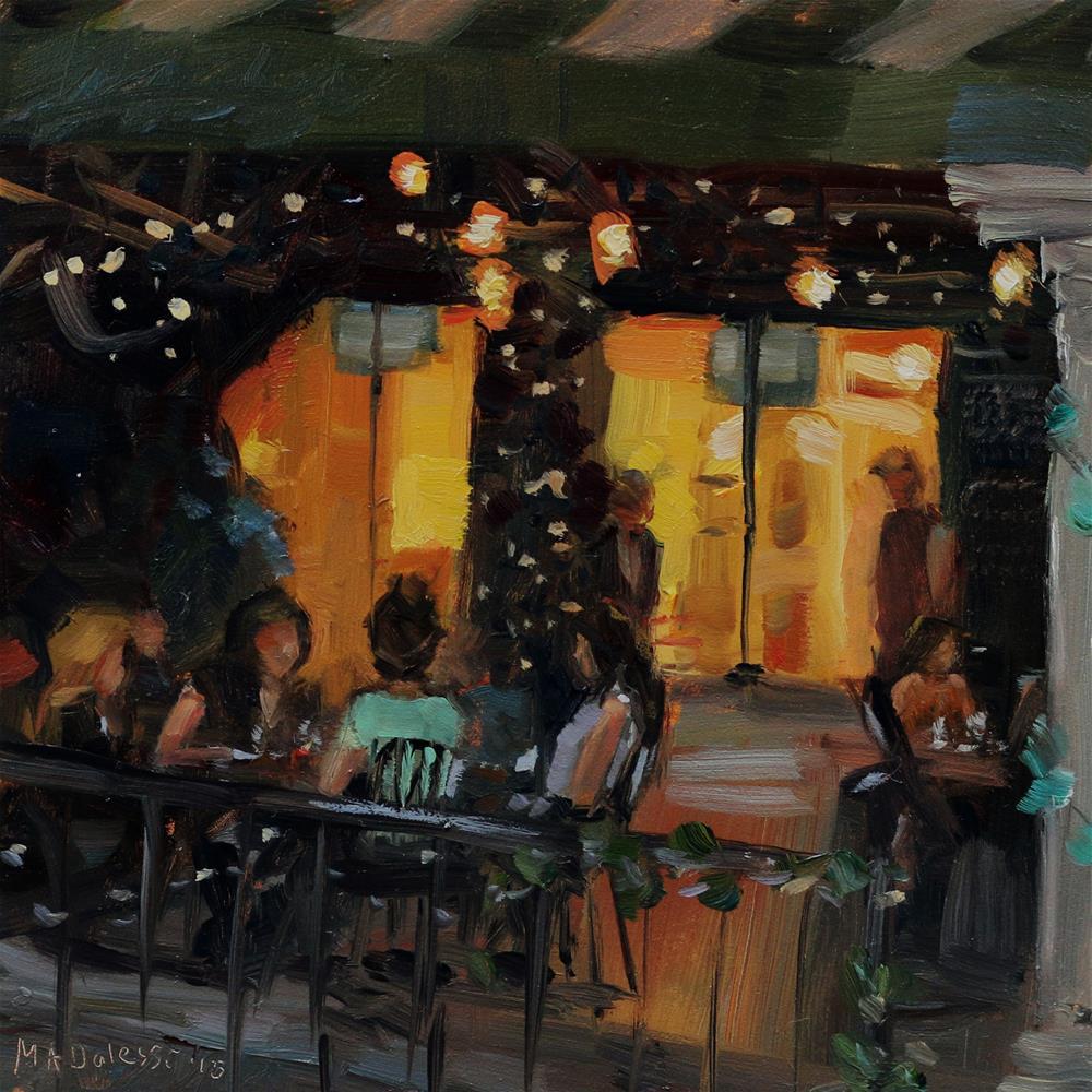 """outside dinner"" original fine art by Miranda Dalessi"