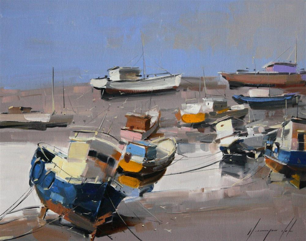 """BOATS ORIGINAL OIL PAINTING ON CANVAS GALLERY QUALITY"" original fine art by V Y"