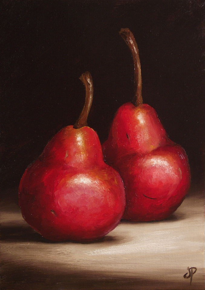 """Red Williams Pears"" original fine art by Jane Palmer"