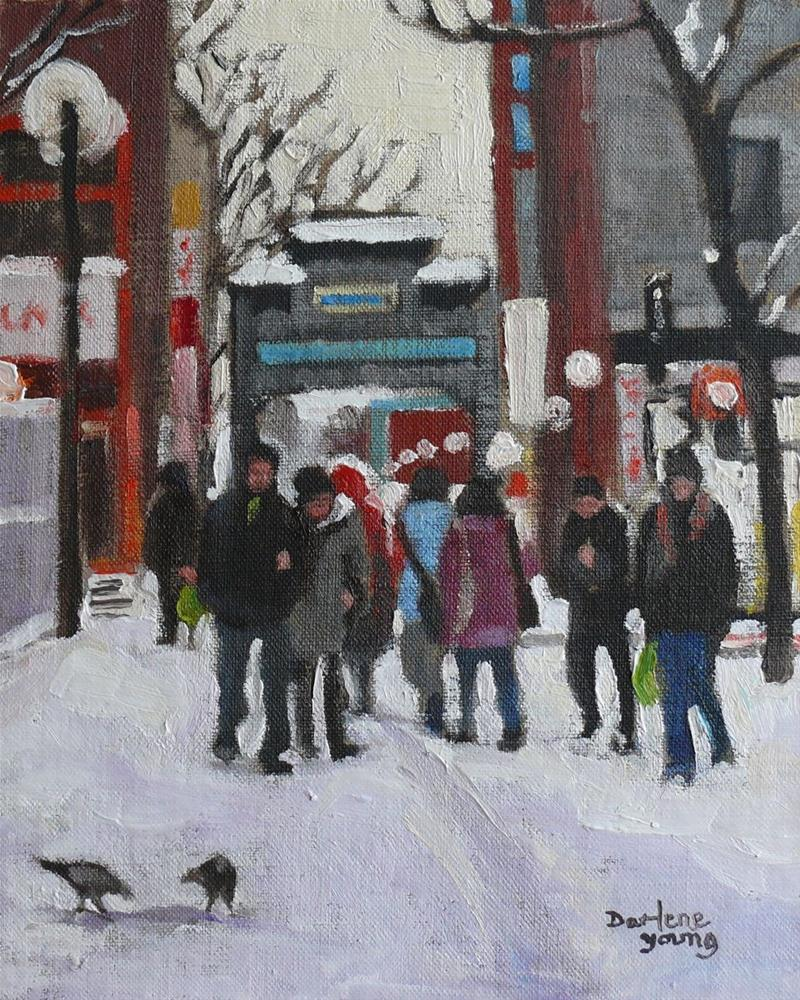 """699 Montreal Winter, Chinatown"" original fine art by Darlene Young"
