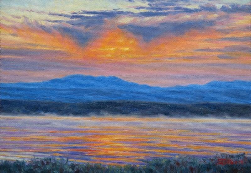 """C1634 ""Dawn over Union Peak"" (Mosquito Lake, Wyoming)"" original fine art by Steven Thor Johanneson"