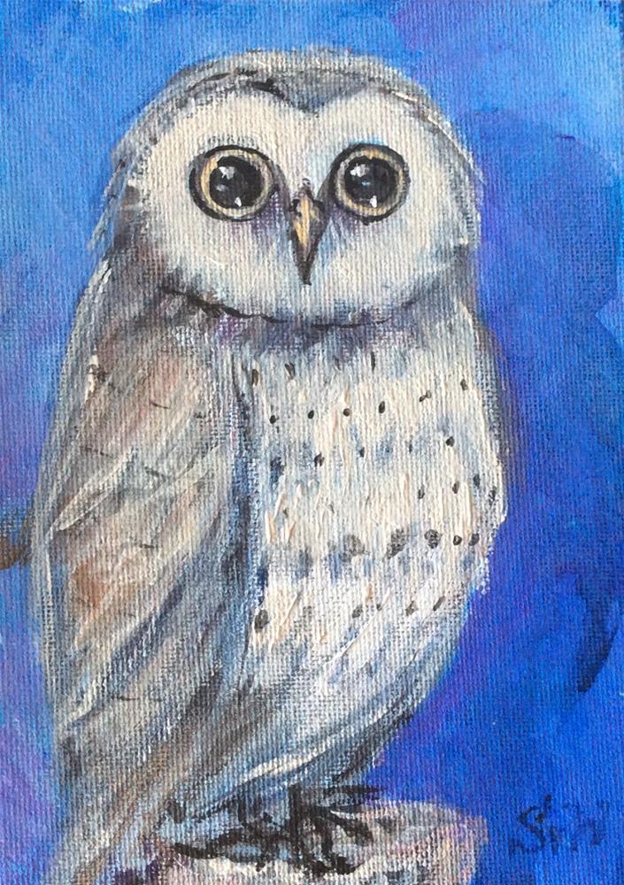 """""""Owl time"""" original fine art by Sonia von Walter"""