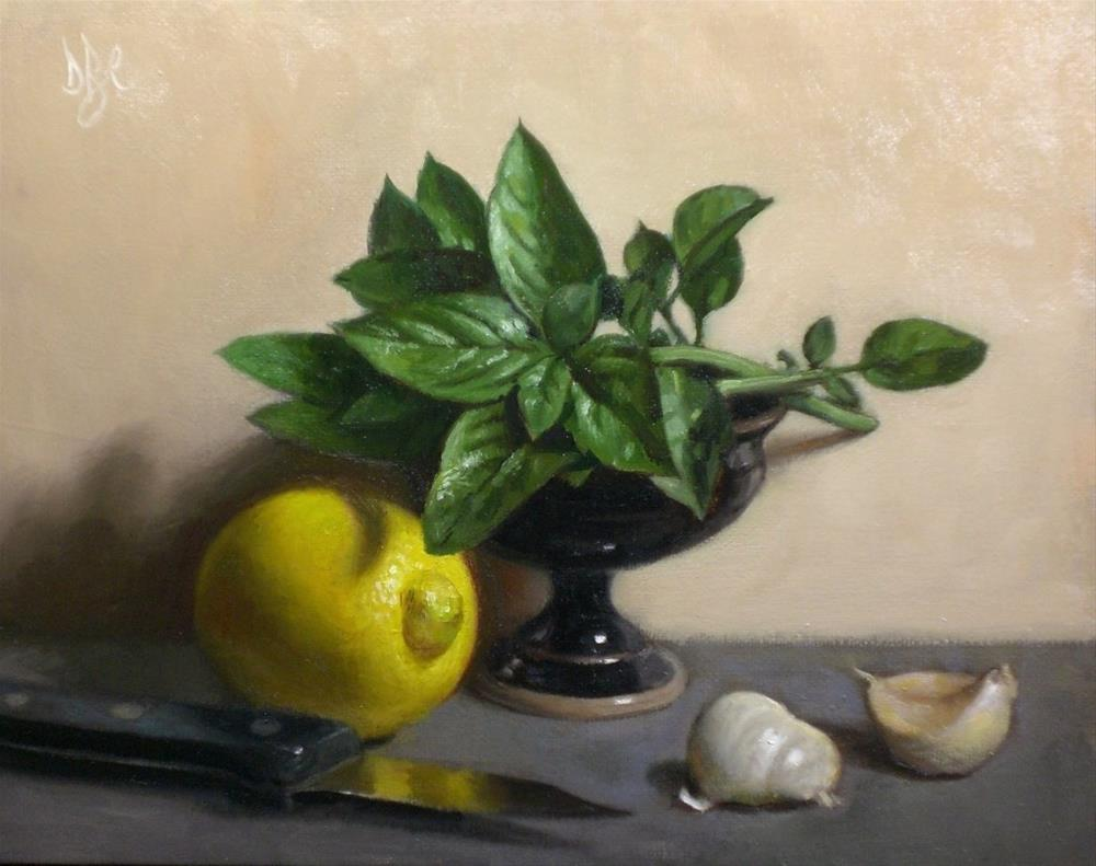 """Lemon with Basil and Garlic"" original fine art by Debra Becks Cooper"