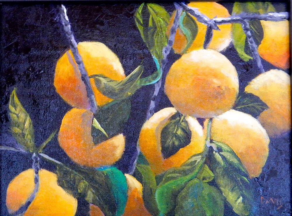 """Lemons on Black Canvas"" original fine art by Phyllis Davis"
