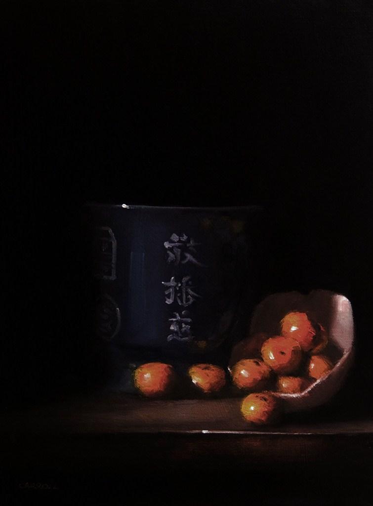 """""""Chinese Pot with Nanfeng Mandarins"""" original fine art by Neil Carroll"""