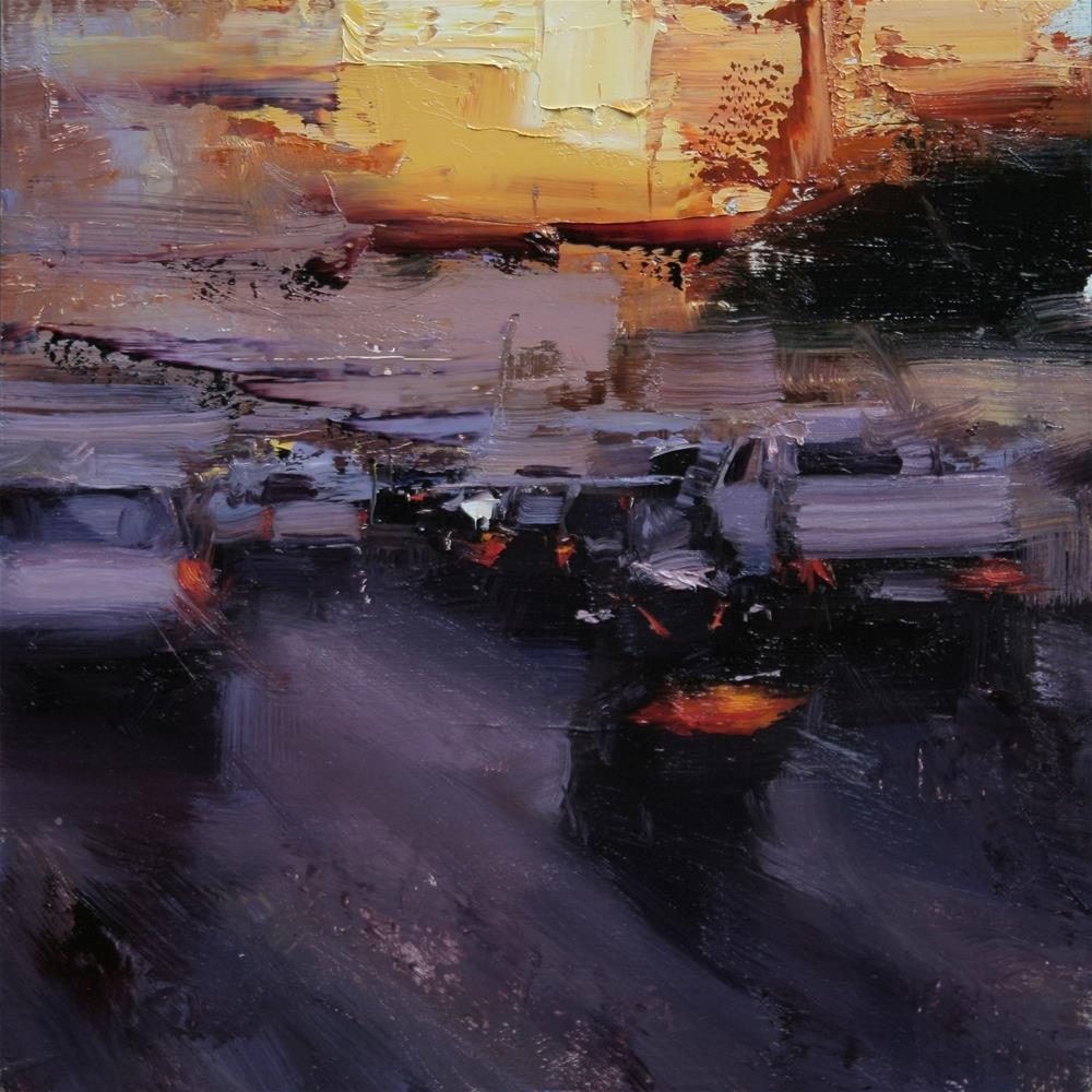 """An Evening Traffic"" original fine art by Tibor Nagy"