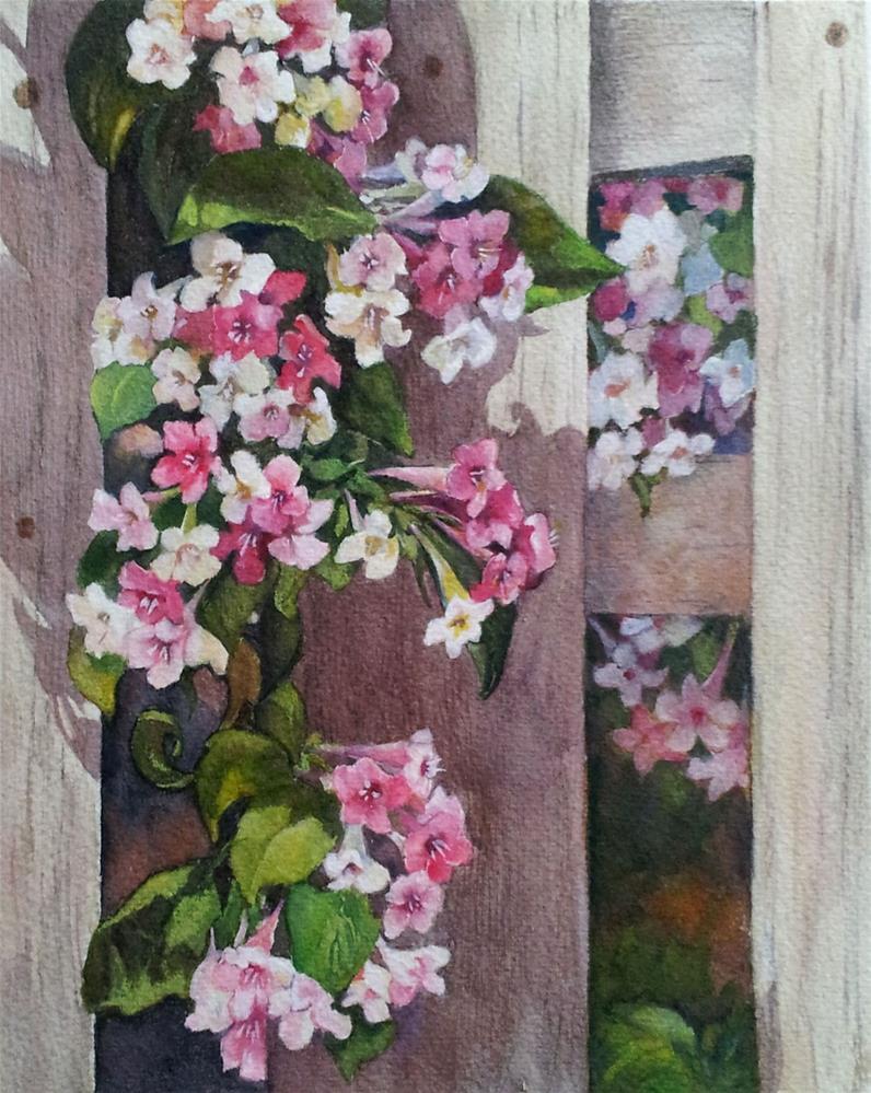 """""""Garden fence"""" original fine art by Olga Touboltseva-Lefort"""