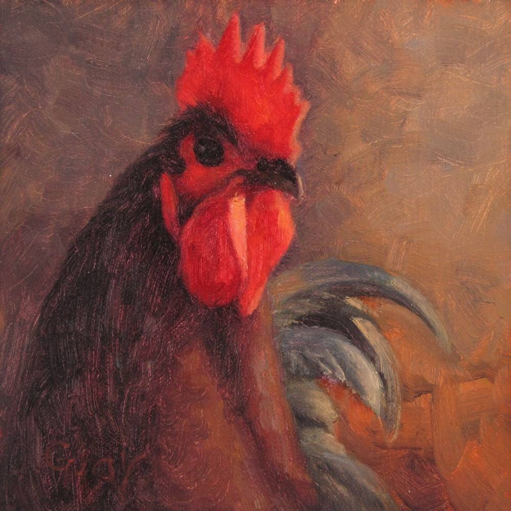 """""""Rooster with Green Tail"""" original fine art by Naomi Gray"""