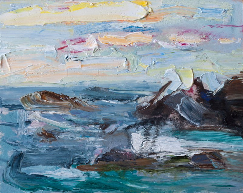 """""""Late Afternoon Light and Rough Sea"""" original fine art by Anna Fine Art"""
