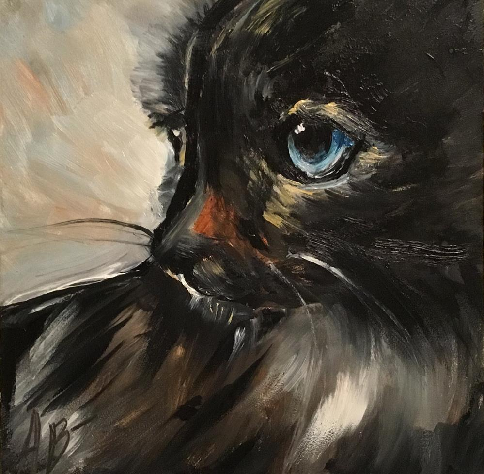 """Cat with Blue Eyes"" original fine art by Annette Balesteri"