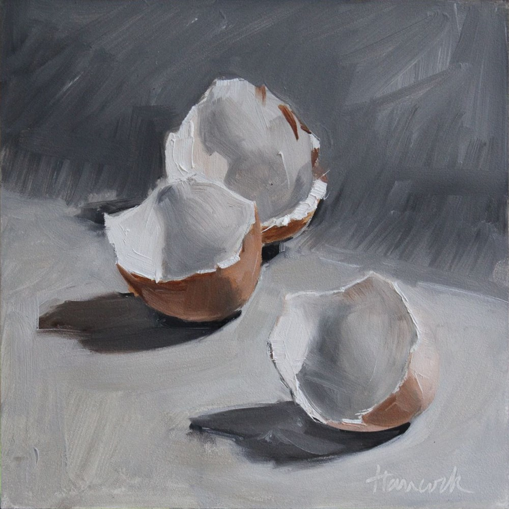 """Three Shells on Gray"" original fine art by Gretchen Hancock"