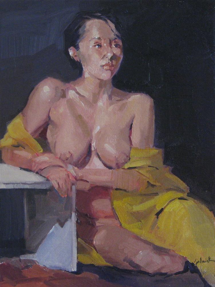 """The Yellow Robe nude female figure painting figurative art portrait"" original fine art by Sarah Sedwick"