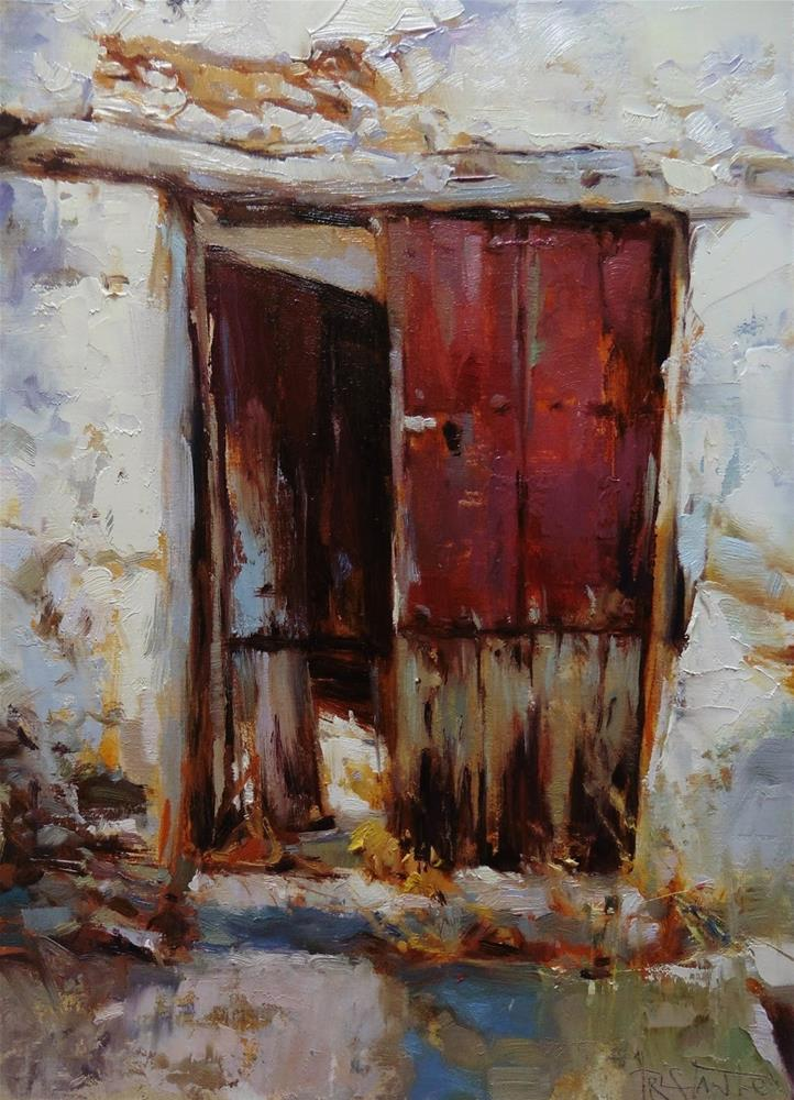 """Old door"" original fine art by Víctor Tristante"