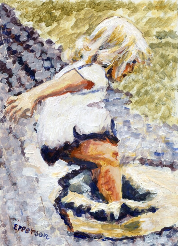 """""""Puddle Jumping"""" original fine art by Stanley Epperson"""
