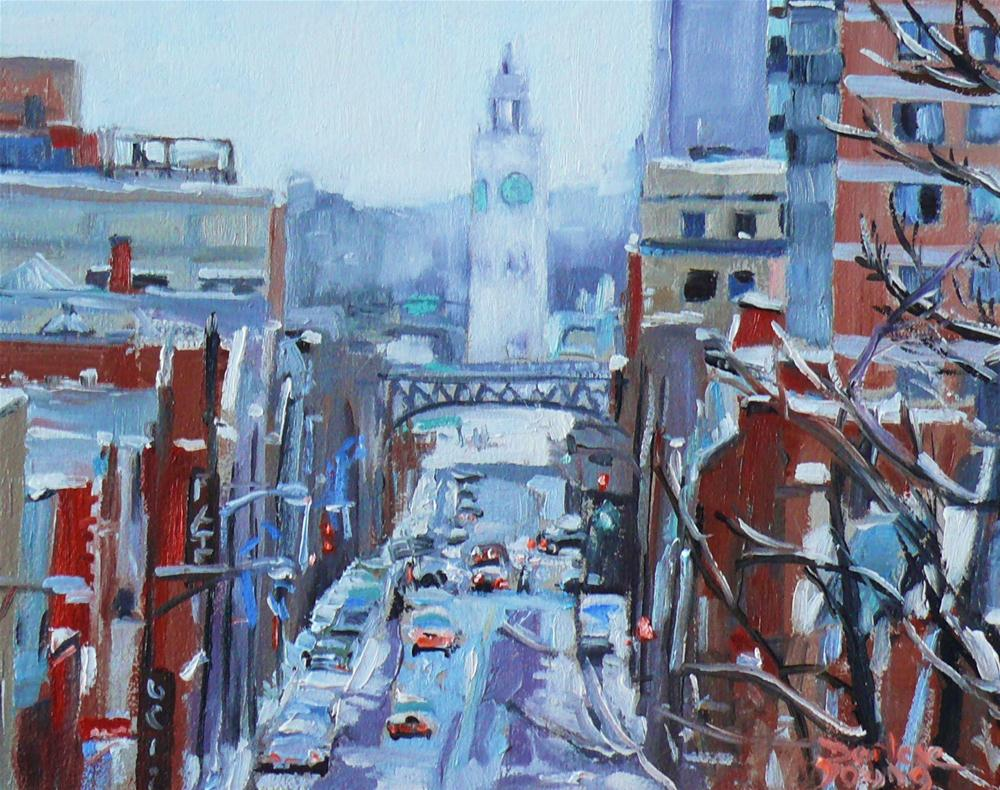 """590 Montreal Winter Scene, View from the Village."" original fine art by Darlene Young"