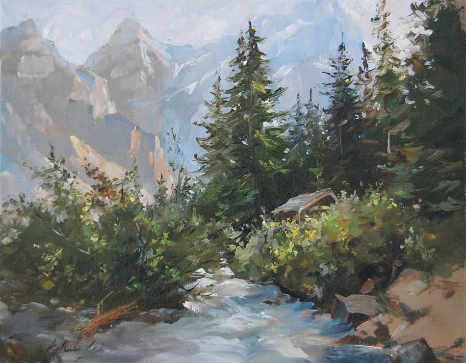 """""""Canadian Rockies"""" original fine art by Kelvin Lei"""