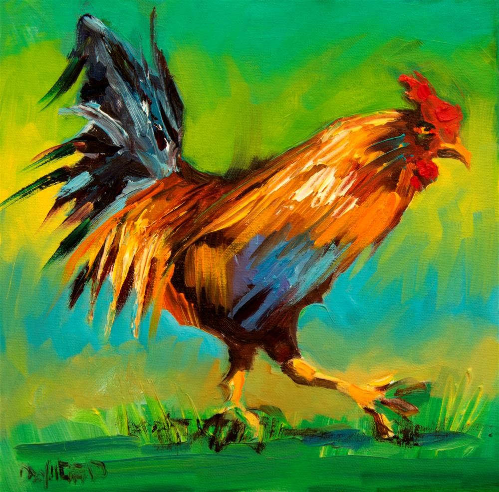 """""""Bright Rooster"""" original fine art by Diane Whitehead"""