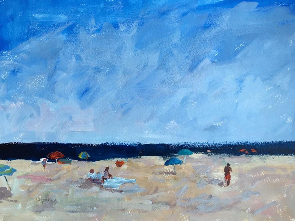 """Figurative Seascape on Paper"" original fine art by Christine Parker"