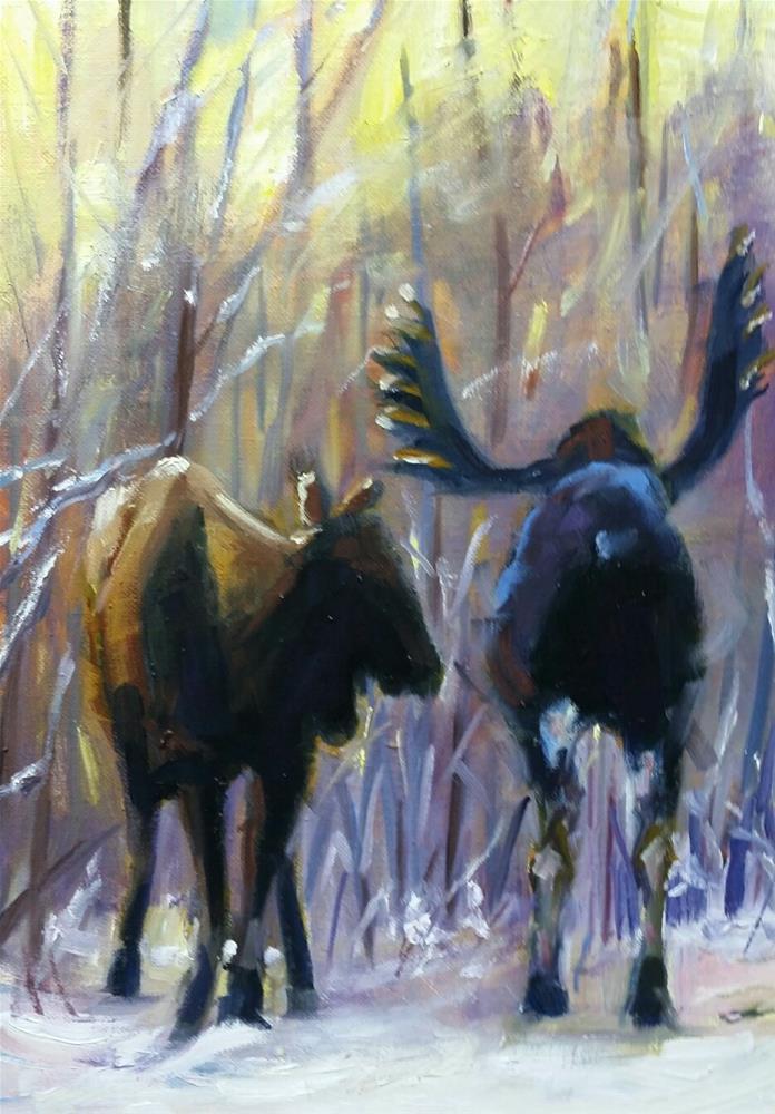"""Moose at Sunrise "" original fine art by Nan Perry"