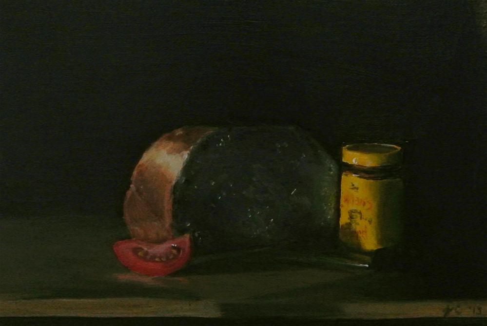 """Bread, Tomato, Mustard, Knife"" original fine art by James Coates"