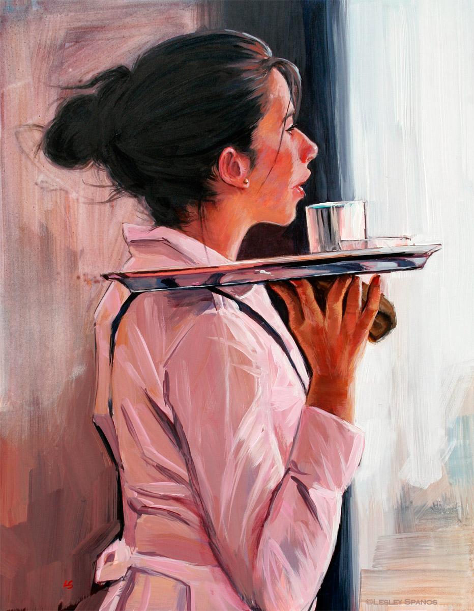 """""""Portrait of a Parisian Waitress"""" original fine art by Lesley Spanos"""