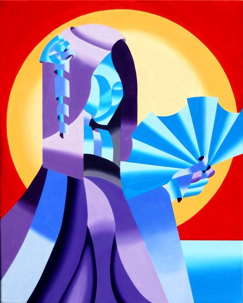 """Mark Webster - Geisha - Abstract Geometric Futurist Figurative Oil Painting"" original fine art by Mark Webster"