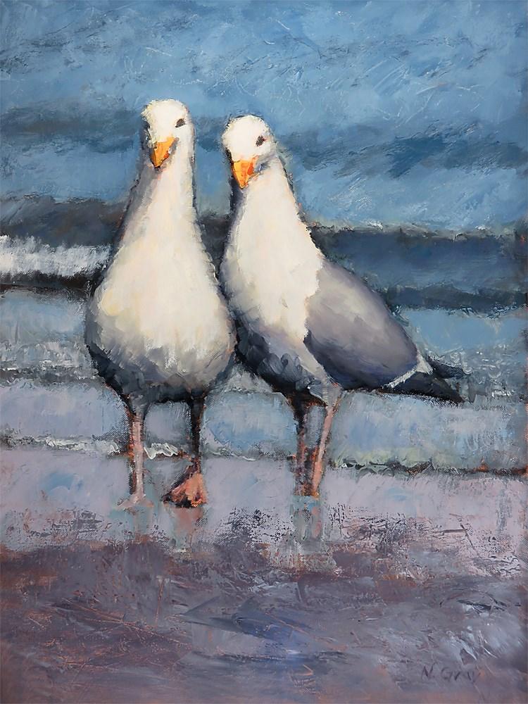 """Walking on the Beach"" original fine art by Naomi Gray"