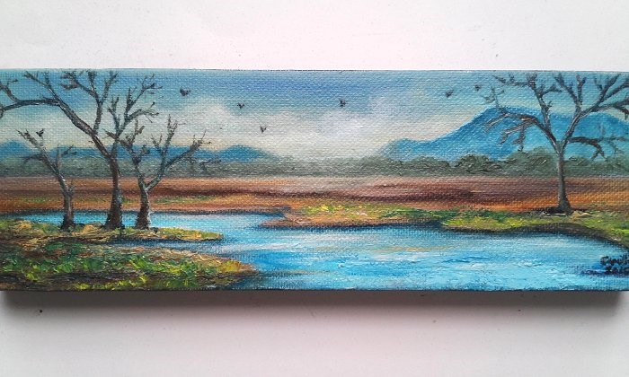 """Trees by River"" original fine art by Camille Morgan"