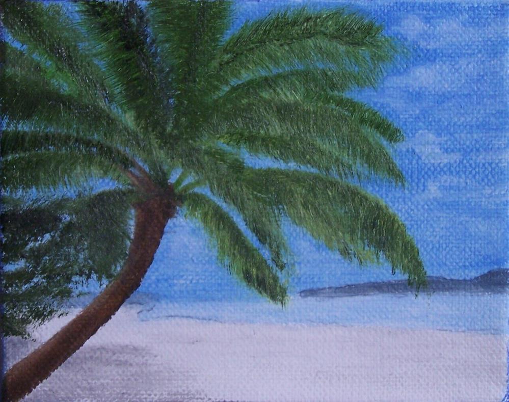 """Palm on Beach"" original fine art by John Marcum"