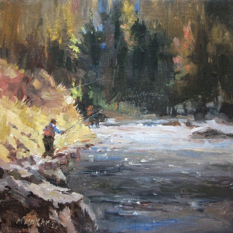"""""""Fly Fishing and a great day in the great outdoors"""" original fine art by Mary Maxam"""