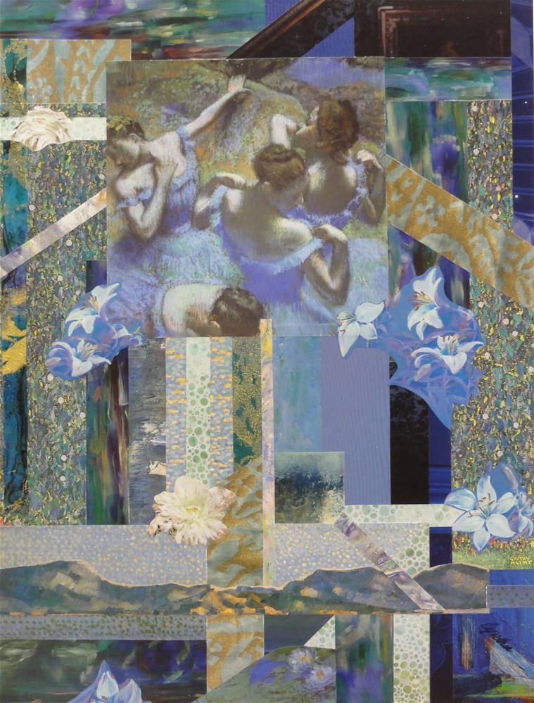 """Degas' Blue Dancers in Klimt's Garden"" original fine art by Cynthia Frigon"