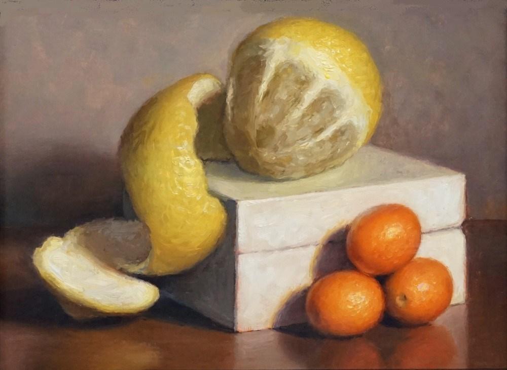 """Peeled Lemon and Kumquats"" original fine art by Debra Becks Cooper"